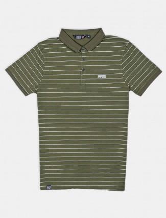 Freeze green stripe cotton slim fit polo t-shirt