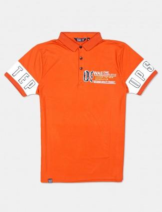Freeze half sleeves orange printed polo t-shirt