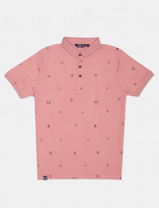 Freeze half sleeves peach printed t-shirt