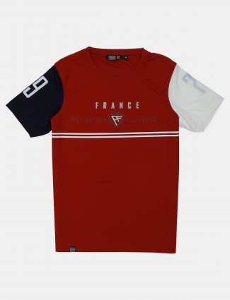 Freeze maroon printed cotton casual t-shirt