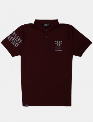Freeze maroon printed cotton polo t-shirt