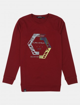 Freeze maroon slim fit cotton casual wear t-shirt