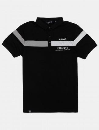 Freeze mens stripe black polo t-shirt