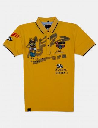 Freeze mustard yellow printed mens polo t-shirt