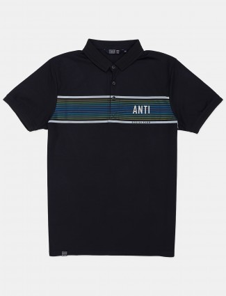 Freeze navy slim fit cotton printed casual t-shirt