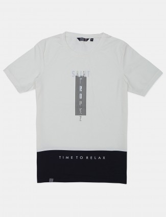 Freeze off white printed cotton slim fit t-shirt