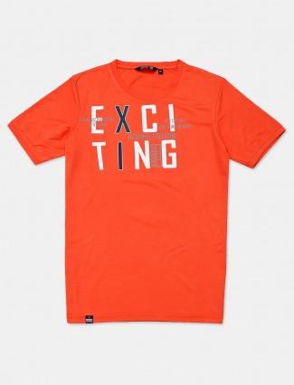 Freeze orange cotton slim fit mens t-shirt