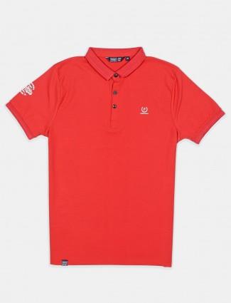 Freeze orange solid slim fit cotton polo t-shirt