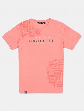 Freeze peach printed cotton t-shirt
