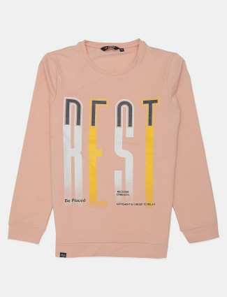 Freeze peach slim fit cotton printed polo t-shirt