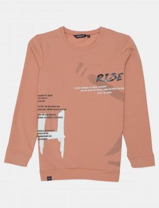 Freeze peach slim fit cotton printed t-shirt