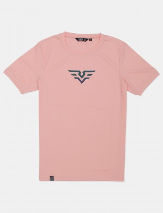 Freeze pink printed cotton slim fit casual t-shirt