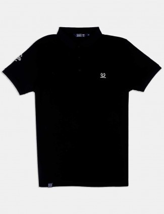 Freeze polo neck solid black t-shirt