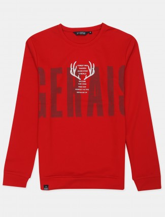 Freeze presented printed style red cotton t-shirt