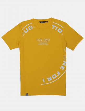 Freeze presented printed yellow casual t-shirt