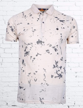 Freeze printed beige cotton casual t-shirt