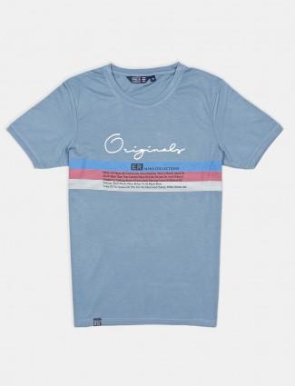 Freeze printed blue cotton round neck t-shirt