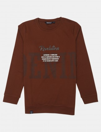 Freeze printed brown cotton casual t-shirt