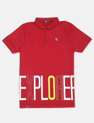 Freeze printed casual red t-shirt