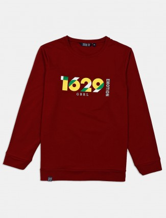 Freeze printed maroon cotton sweatshirt