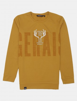 Freeze printed mustard casual t-shirt