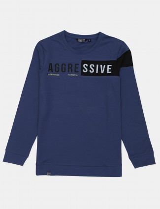 Freeze printed navy cotton casual wear t-shirt