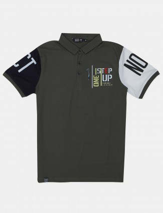 Freeze printed olive green cotton polo t-shirt