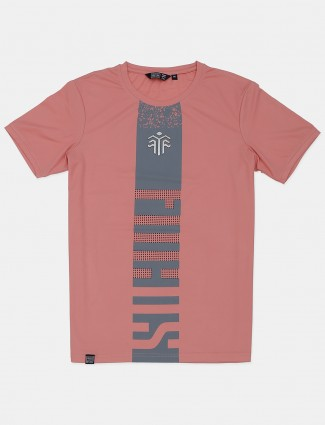 Freeze printed onion pink cotton casual t-shirt