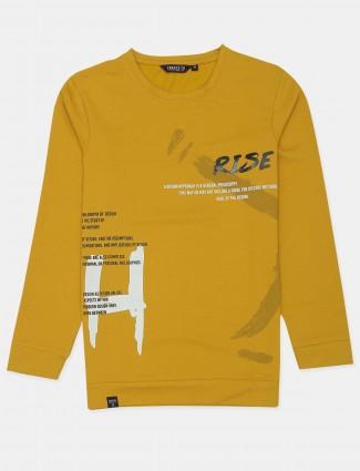 Freeze printed style ochre yellow shade cotton t-shirt