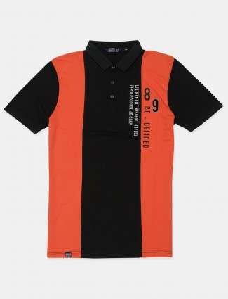 Freeze printed style orange and black shade cotton casual shirt for men