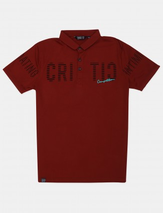 Freeze red printed cotton casual t-shirt