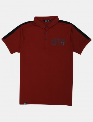 Freeze red printed cotton polo t-shirt
