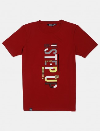 Freeze red slim fit cotton printed t-shirt