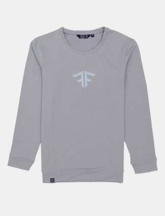 Freeze solid grey cotton casual t-shirt