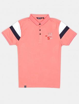 Freeze solid peach cotton mens polo t-shirt