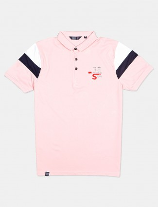 Freeze solid pink half sleeves polo t-shirt