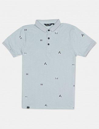 Freeze solid sea green printed mens polo t-shirt