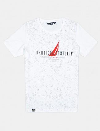 Freeze white printed cotton mens t-shirt