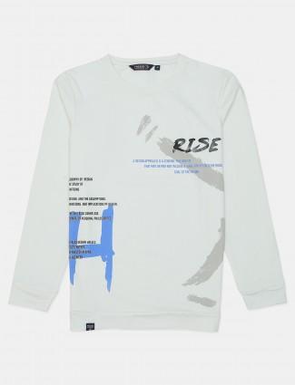 Freeze white printed cotton slim fit t-shirt