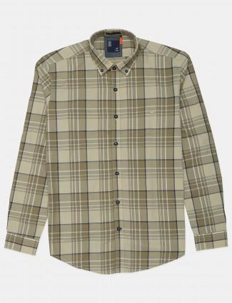 Frio beige checks shirt in cotton fabric