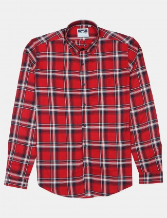 Frio casual cotton shirt in red color with checks print