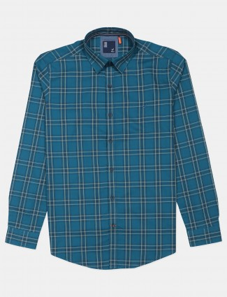 Frio cotton blue colored cotton shirt in checks pattern