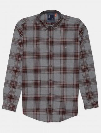 Frio grey checks cotton shirt for mens