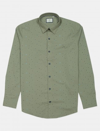 Frio olive green printed casual shirt in cotton