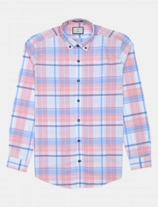 Frio peach checks cotton shirt for men