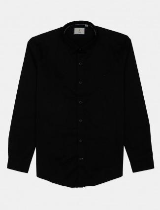 Frio solid black cotton mens shirt