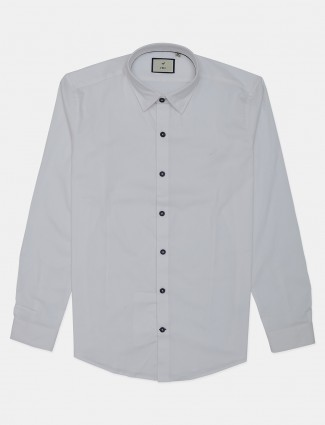Frio solid white cotton shirt for mens