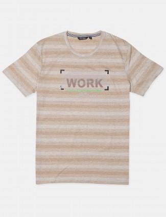 Fritzberg beige printed t-shirt for mens