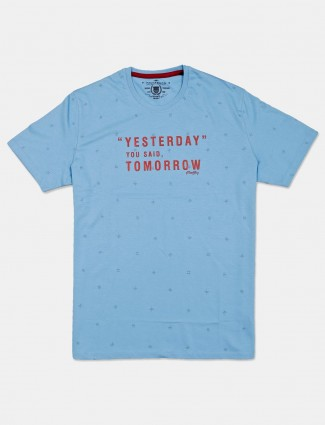 Fritzberg blue printed cotton slim fit t-shirt for men