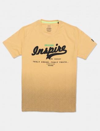 Fritzberg printed yellow slim fit t-shirt